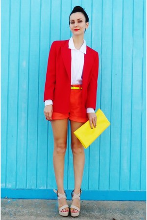 red vintage talbots blazer - white vintage shirt - yellow bag