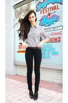 dark brown Mary Jane shoes - black Skinny jeans - heather gray Rachel&Cloe shirt