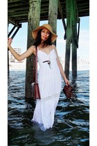 white dress - tan hat - burnt orange satchel bag - burnt orange sandals