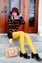black H&M sweater - black lace up oxfords shoes - crimson Target hat