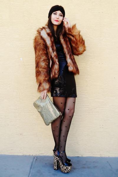 bronze fur H&M coat - camel leopard shoes - black sequined Love dress