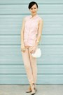 Beige-rampage-shoes-light-pink-thrifted-shirt-white-vintage-bag