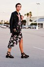 Dark-green-floral-forever-21-dress-black-sheinside-jacket