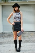 black hm skirt - black etienne aigner boots - black Forever21 bag