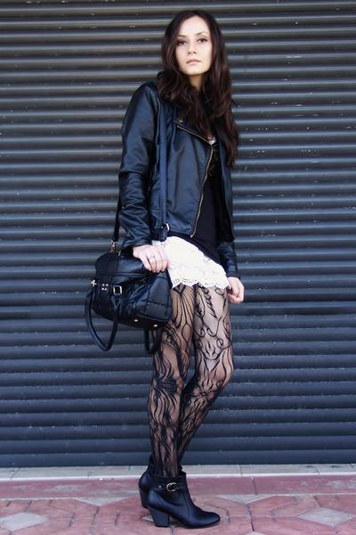 black Target tights - black Forever 21 boots - black jacket - black bag