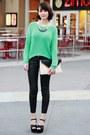 Black-h-m-jeans-aquamarine-forever-21-sweater-eggshell-forever-21-bag