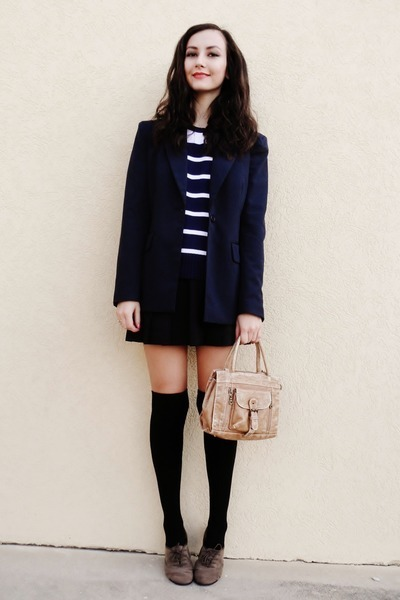 navy Forever 21 blazer - black Forever 21 socks - black vintage skirt