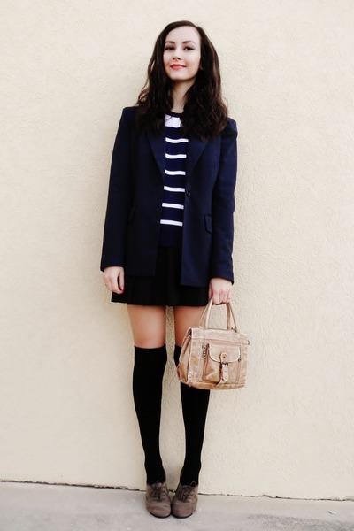 navy Forever 21 blazer - black Forever 21 socks - black vintage skirt