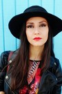 Maroon-feathers-love-dress-black-vintage-hat-brick-red-bag