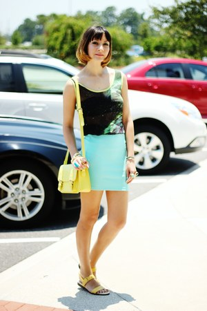 light yellow bag - chartreuse galaxy romwe top - aquamarine Forever 21 skirt