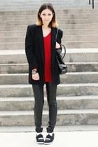 black vintage coat - ruby red OASAP sweater - black H&M pants
