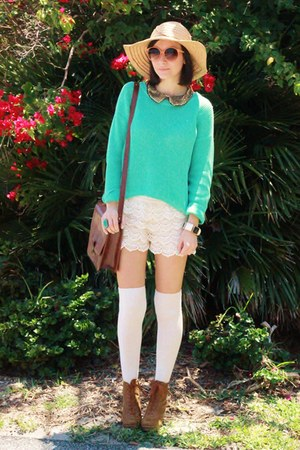 eggshell OASAP shorts - aquamarine sweater - burnt orange bag - eggshell socks