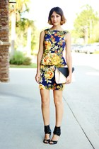 black bag - navy floral print dress - black heels
