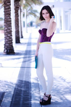 purple Vedette top - turquoise blue pieces bag - ivory H&M pants