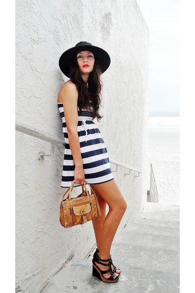black skala hat - navy striped dress - tan satchel bag - black diva wedges