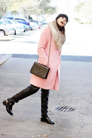 light pink OASAP coat - black Choies pants