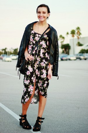 black Sheinside jacket - dark green floral Forever 21 dress