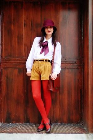 mustard vintage shorts - maroon Target hat - brick red Target tights