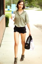 dark khaki shirt - army green boots - black bag - black shorts