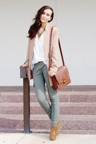 burnt orange boots - tan blazer - white shirt - brick red bag - dark khaki pants