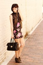 pink Forever 21 dress - army green boots - black bag - brown Nordstrom vest