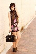 pink Forever 21 dress - army green boots - black bag - brown Nordstrom vest