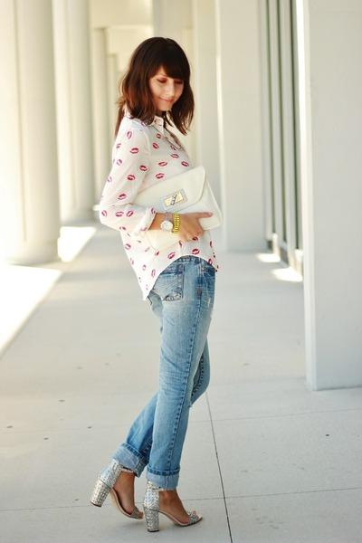 white PERSUNMALL shirt - periwinkle Aeropostale jeans - silver Zara heels