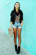 diy bag - Forever 21 boots - Levis shorts - JC Penny earrings - Dana Buchman top