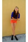 Orange-accessories-black-shoes-carrot-orange-shorts-blue-top-gold-belt
