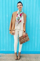 crimson Forever 21 scarf - tan Forever 21 boots - tan H&M blazer