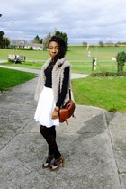 H&M dress - Primark tights - vintage bag H&M bag - faux fur vest clockhouse vest