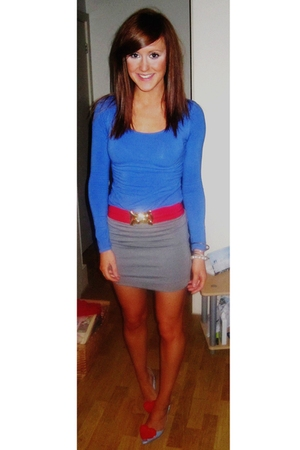 red Forever 21 belt - blue vivienne westwood shorts - gray H&M skirt