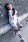 Bronze-no-brand-pants-periwinkle-bershka-blouse