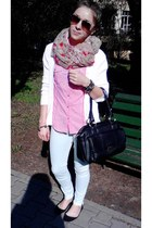 pink H&M skirt - light pink tcm sweater - black pieces bag