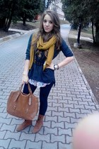 olive green H&M scarf - brown pieces shoes - brown Atmosphere bag