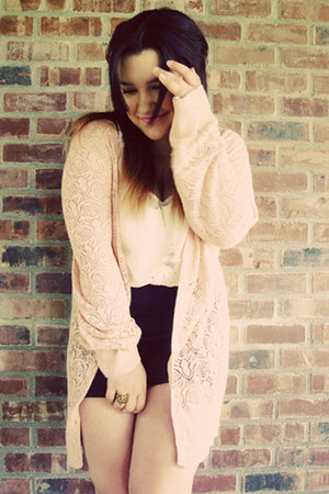 navy Cooperative shorts - light pink crochet Lauren Conrad cardigan - cream ecot