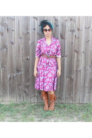 purple polylester vintage dress