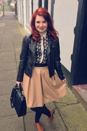 dark brown faux leather Primark jacket - black Primark shirt