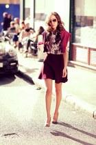burgundy Zara skirt - beige lanvin sunglasses - Massimo Dutti blouse
