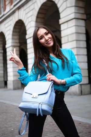 black H&M jeans - sky blue Zara bag - aquamarine silk whistles blouse
