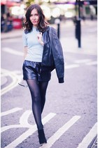 black leather Armani Exchange jacket - black platform Kurt Geiger shoes