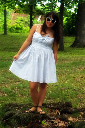 white Urban Outfitters sunglasses - blue H&M dress - brown American Eagle shoes