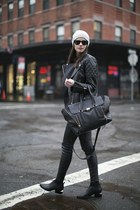 satchel 31 philip lim bag - ankle Alexander Wang boots - beanie hat