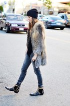 fur coat - embellished boots - slouchy beanie hat