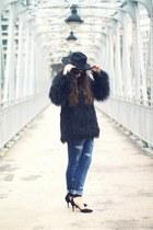 fur jacket coat - Current Elliot jeans - ankle strap Alexander Wang heels