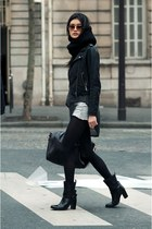 moto jacket - strappy slouch boots - asymmetrical Helmut Lang sweater