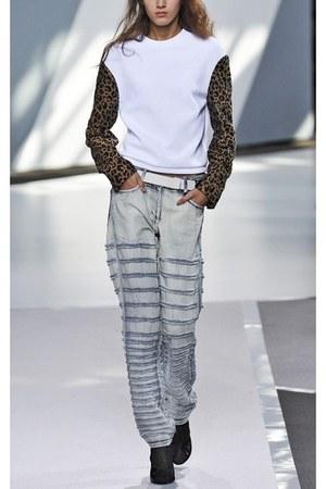 destroyed 31 philip lim jeans - leopard detail 31 philip lim sweatshirt
