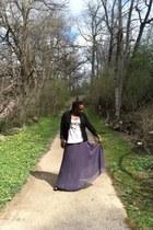 grey maxi skirt unknown brand skirt - black blazer H&M blazer - Express t-shirt