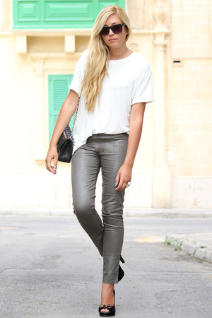 silver metallic Boohoo leggings
