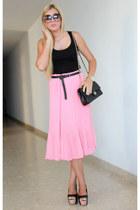 pink pleated Boohoo skirt - black Chanel bag - black H&M top
